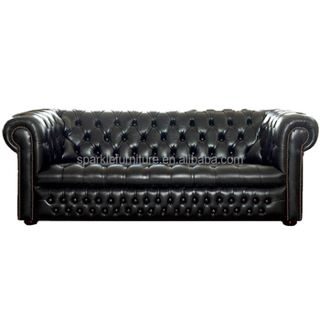 Chesterfield sofa modern  Modern Leather Sofa Ludlow Black Chesterfield Sofa Living Room ...
