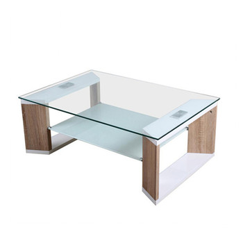 Cheap Top Glass With Wood Frame Center Table