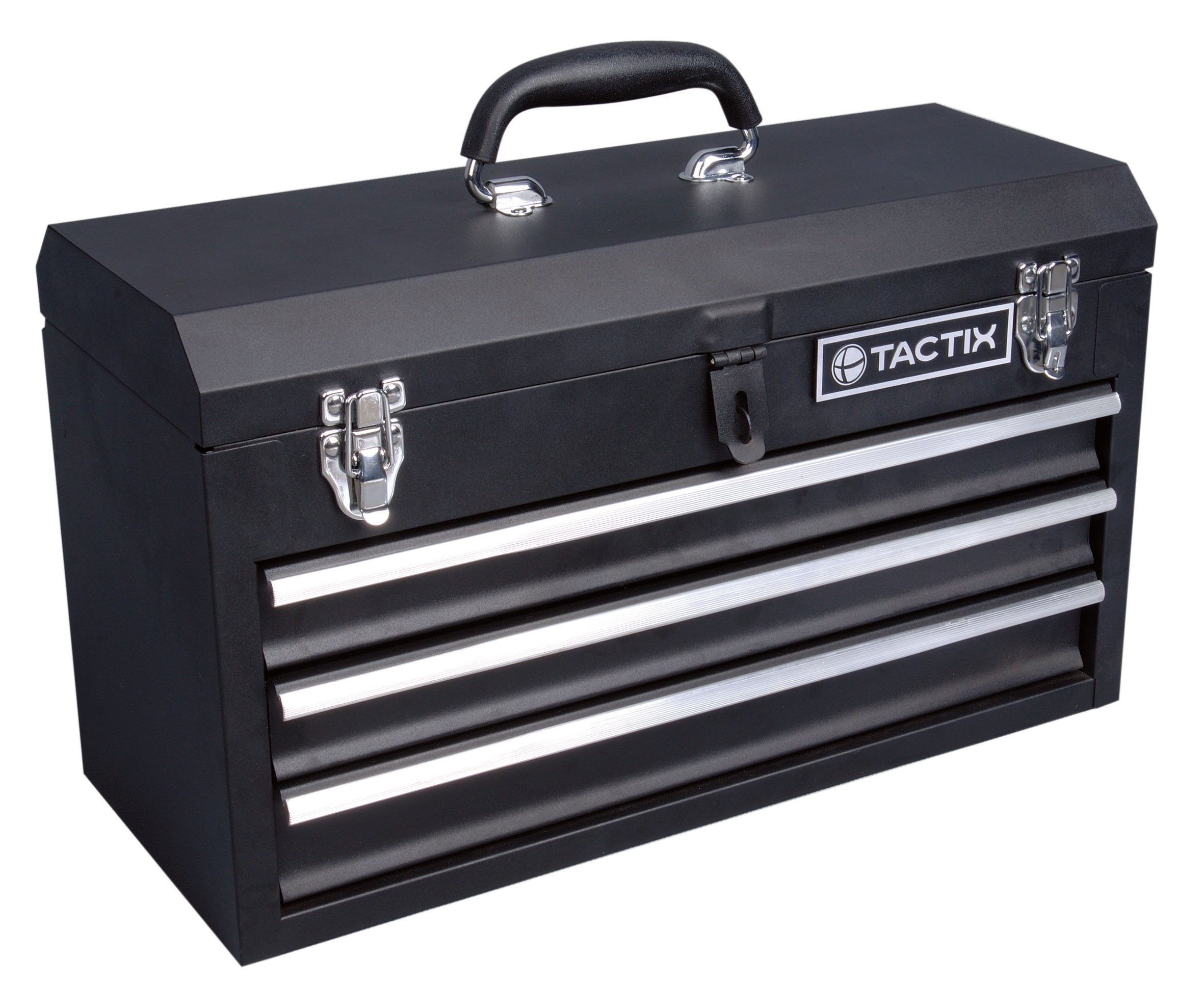 Get Quotations · Tactix 321102 3 Drawer Steel Portable Tool Box, 52cm
