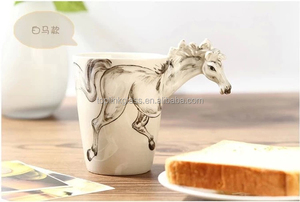 Creative gift Ceramic coffee milk tea mug 3D animal shape Hand painted animals Giraffe Cow Monkey Dog Cat Camel Elephant cup