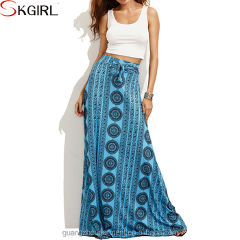 e6b9ebcc8425a6 Summer boho printed maxi skirt and white crop top blouse designs two piece  set women clothing