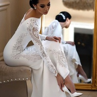 Elegant Long Sleeve Sheath Lace Bridal Gowns Wedding Dresses 2020