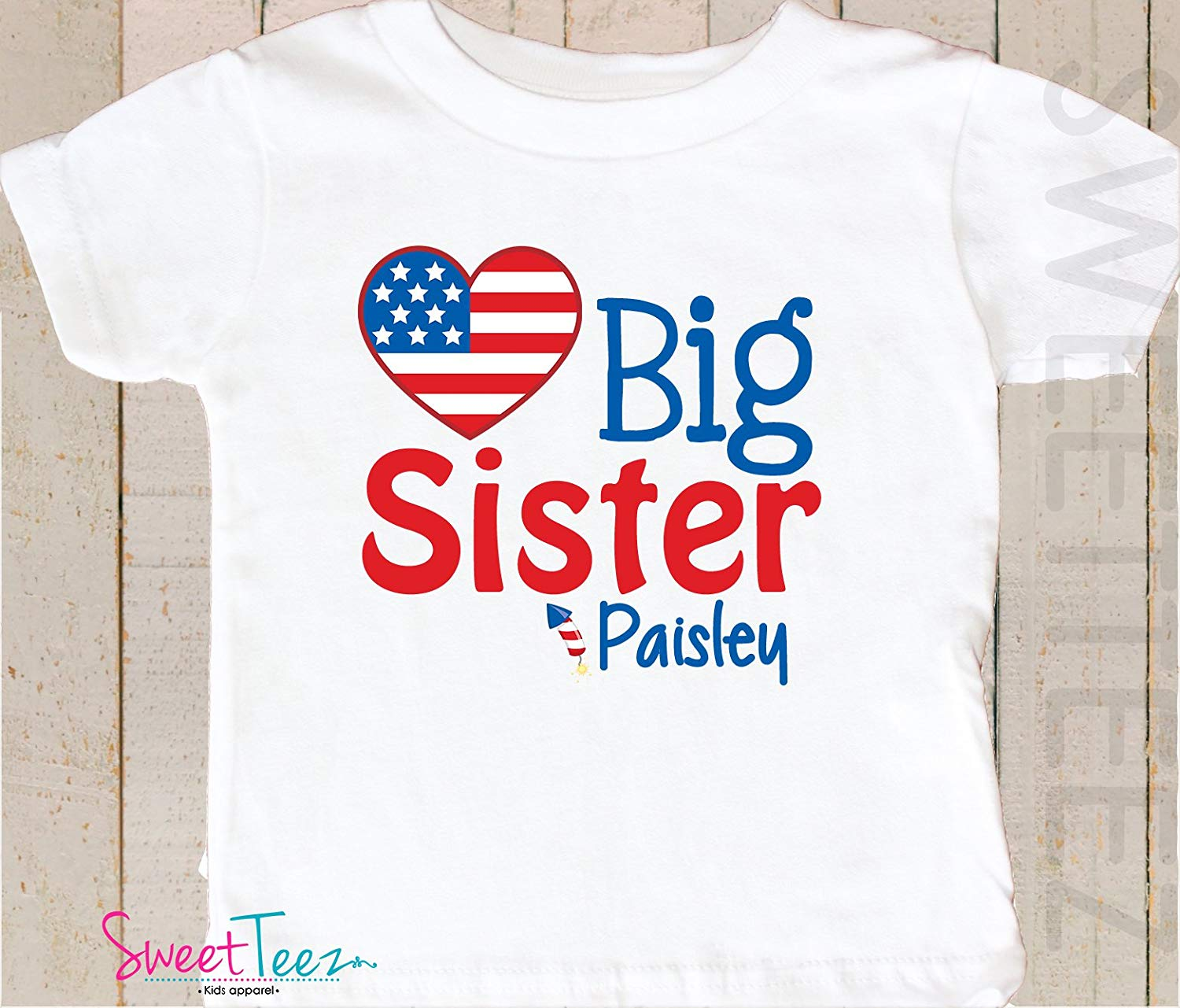 14aebce5d3d Get Quotations · Big Sister Shirt Personalized 4th Of July Shirt Girl  Pregnancy Announcement