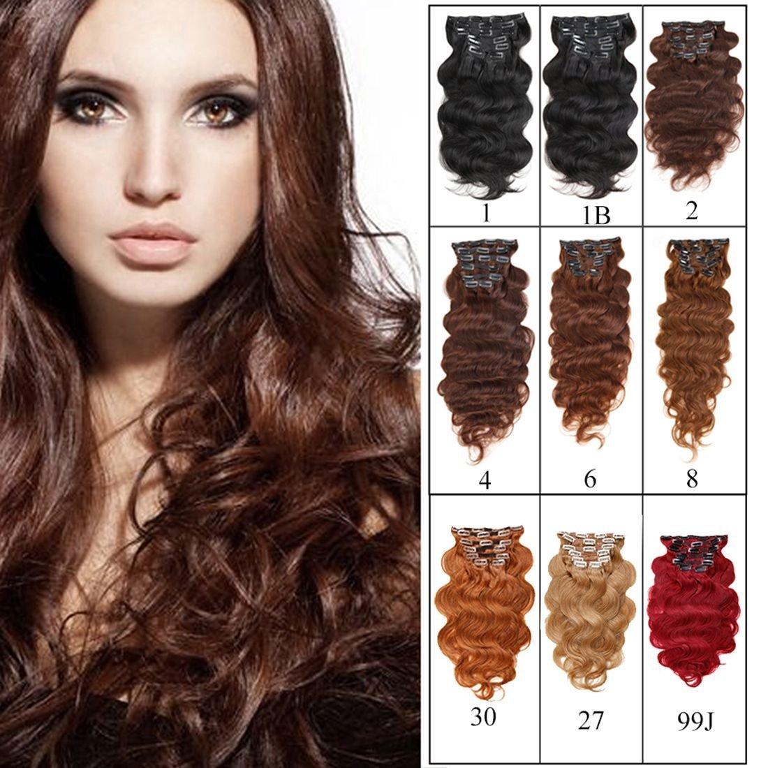 "Full Head Clip in Hair Extensions Body Wave Human Hair Brazilian Virgin Hair Double Weft Black Brown Blonde Burgundy Copper Red 7Peices/set 70g-160g (200g 24"", Dark/Medium Brown)"
