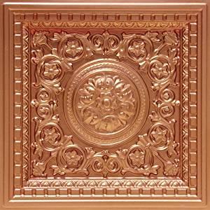"Suspended Ceiling Decorative #215 Copper Plastic Ceiling Tile Glue & Grid 24""x 24"" PVC 3 Dimension,1""depth Glue On,tape on Over Wainscoat, Sheet Rock."