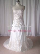 Wholesale High Quality Lace Beading A-line Strapless Imperial Bridal Gown
