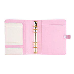 Pink Leather Planner Organizer Notebook Cover Ring Binder