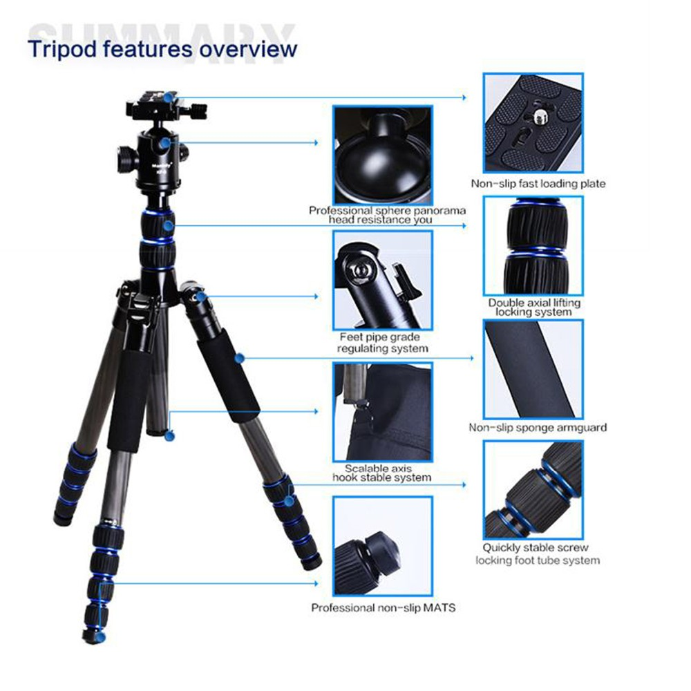 Professional Travel Photography Carbon Fiber Tube Camera Tripod