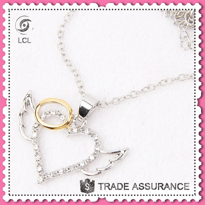 Heart crystal pendant fashion necklace, imitate silver chain necklace jewelry