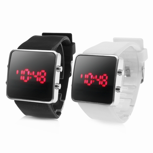 Free shipping Pair of mens army sport silicone rubber watches Black and White sport style digital led couple watches for lovers
