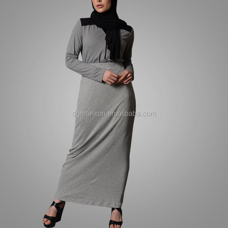 Top Quality Hot Selling Ladies Basic Long Grey Jersey Skirt Islamic Clothing Women Dress