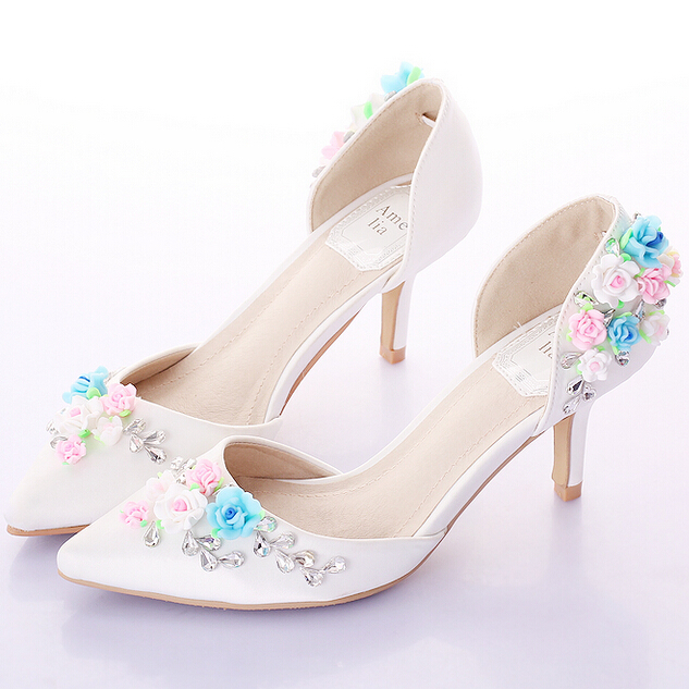 2015 White Sweet Colorful Flower Rhinestone Bridal Shoes High heels Thin Heels Crystal Sandals Pointed Toe Ladies Wedding Shoes