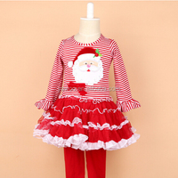 New Arrival High Fashion Cute Santa Applique Fluffly Chiffon Dress Matching Red Pants New Style Baby Girls Christmas Outfits