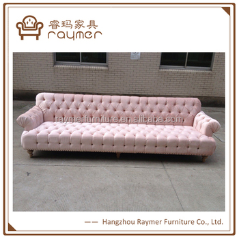 Luxury Big Size L Shape Upholstered Pink Velvet Button Tufted Sofa Set