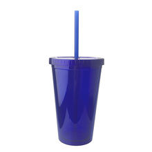 Vaso doble pared reutilizable 16oz en stock vaso de plástico pajita con tapa