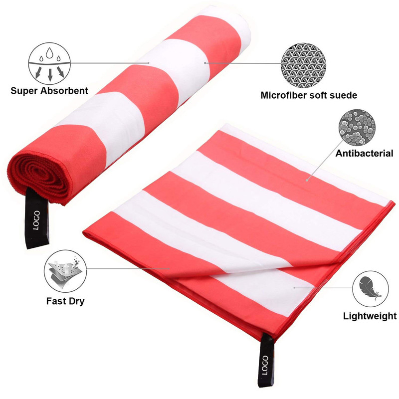 China Supplier High Quality Soft Microfiber Beach Towel Stripes For Adult