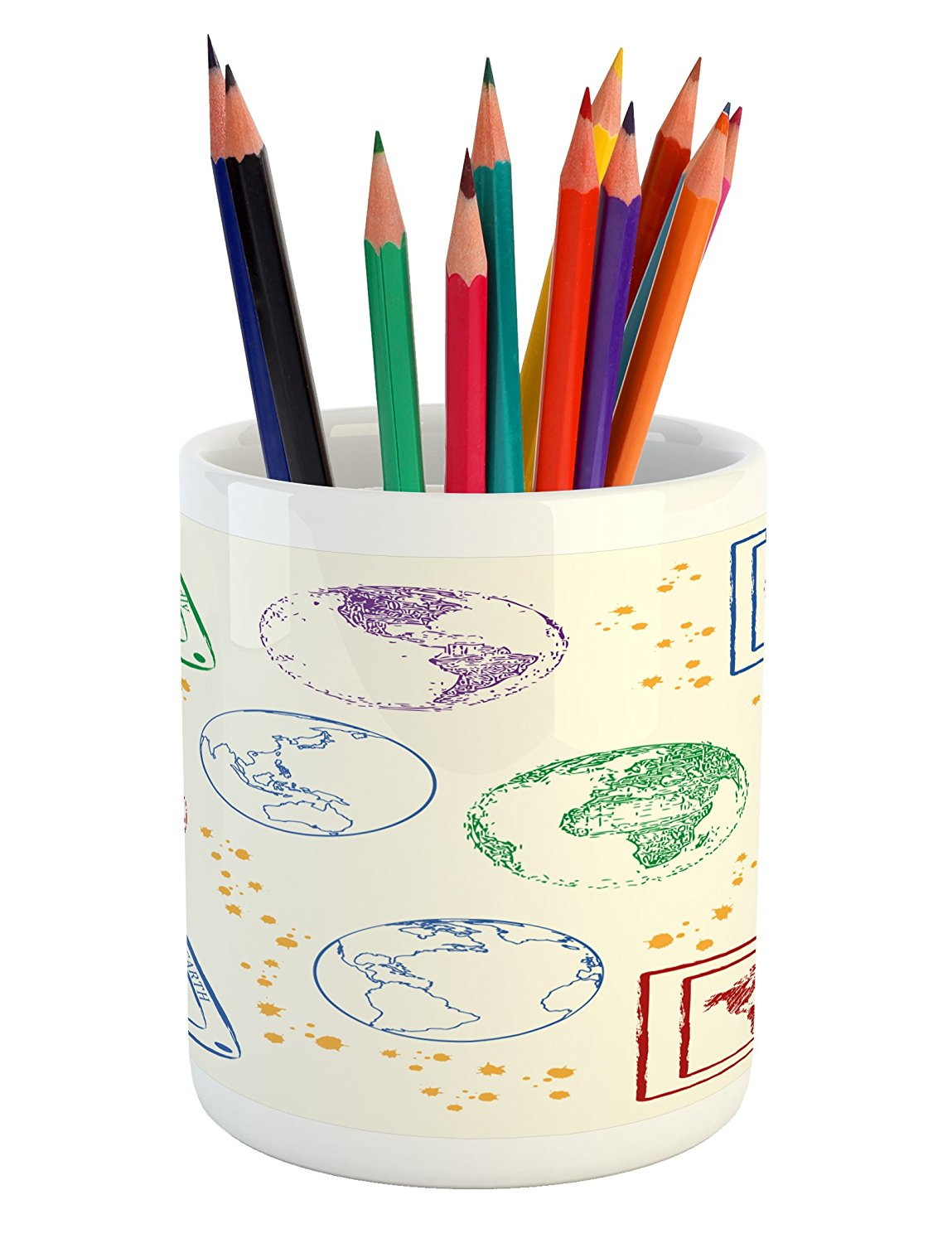 Lunarable World Map Pencil Pen Holder, Soft Colored Globe Shaped Maps of The World Earth Friendly Stars Pattern Image, Printed Ceramic Pencil Pen Holder for Desk Office Accessory, Multicolor