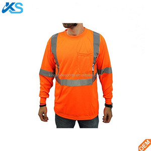 45e85f9583c5 Works Safety Reflective 100% Polyester Dryfit Moisture Wicking Long Sleeve Orange  High Visibility Works Men