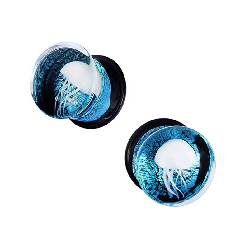 Glass Ocean Jellyfish Ear Plugs Gauges Expander Tunnels ear piercing body jewelry