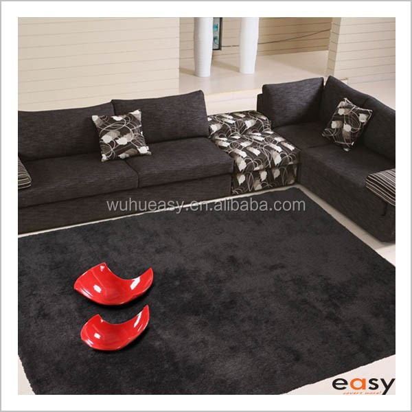 Wholesale soft black microfiber shaggy tapis en polyester