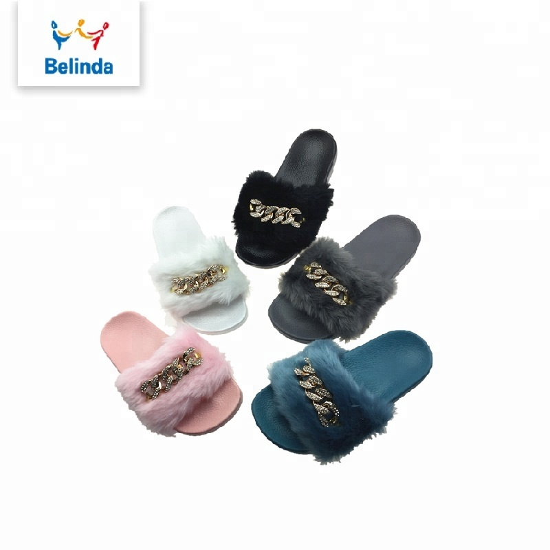fashion <strong>slippers</strong> women soft slides footwear with fur