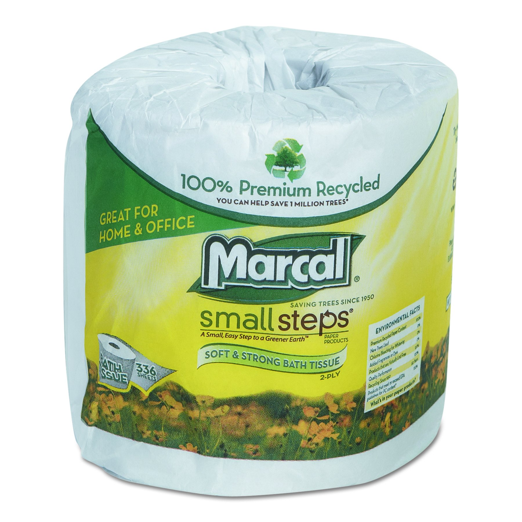 Marcal Toilet Paper 100% Recycled - 2 Ply, White Bath Tissue, 336 Sheets Per Roll - 48 Rolls Per Bundle Green Seal Certified Toilet Paper 06073