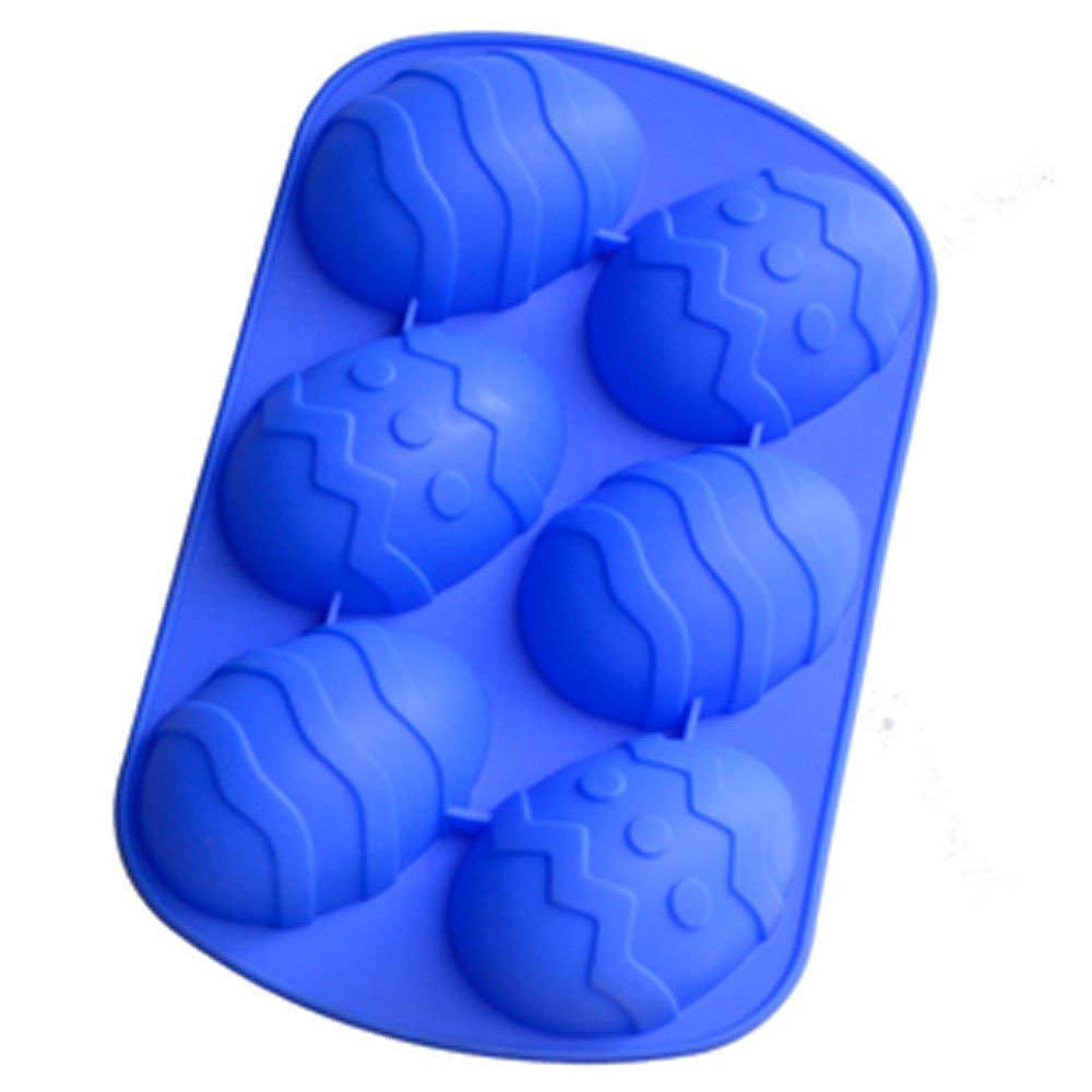 Longzang 6 Cavity Easter Egg Silicone Cake Baking Mold Cake Pan Muffin Cups Handmade Soap Moulds Biscuit Chocolate Ice Cube Tray DIY Mold