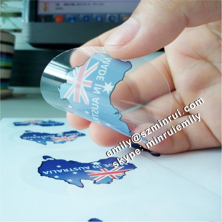 Custom transparent vinyl stickers for boxes full colors printed transparent adhesive labels