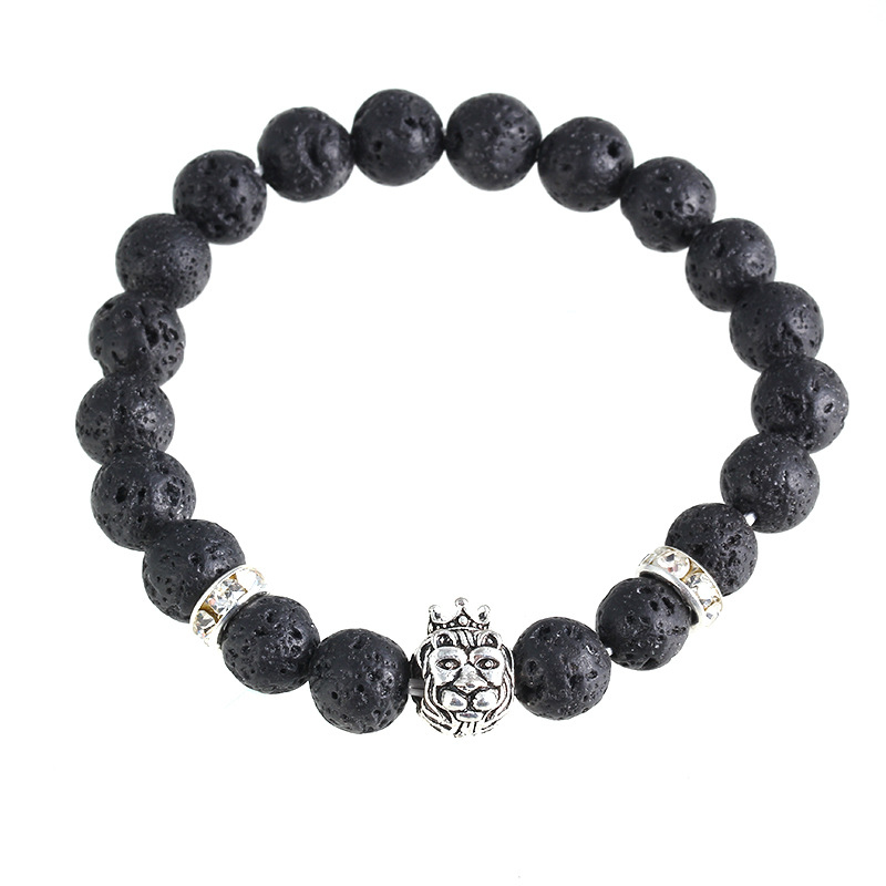 Fashion Men Health Power Stone Beads Bracelet Black Lava Natural Stone Adjustable Bracelet <strong>Accessory</strong>