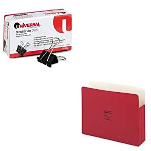 KITUNV10200WLJ64R - Value Kit - Wilson Jones ColorLife 3 1/2 Inch Expansion Pocket (WLJ64R) and Universal Small Binder Clips (UNV10200)