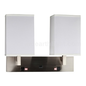 UL CUL Listed Modern Hotel Double Headboard Wall Lamps With Switches And Outlets W20184