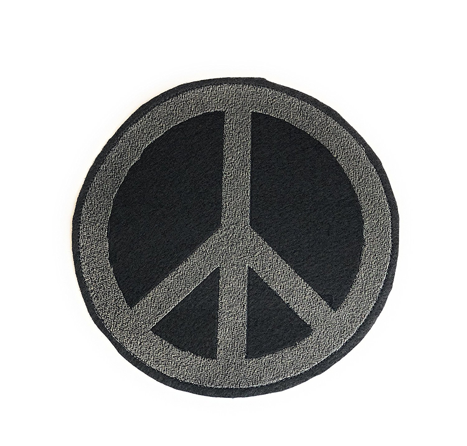 Large Peace Sign Patch, Peace Symbol Patch, Peace Sign Sew on Patch, Large Patch 7.5 inches in Gray, Made in USA
