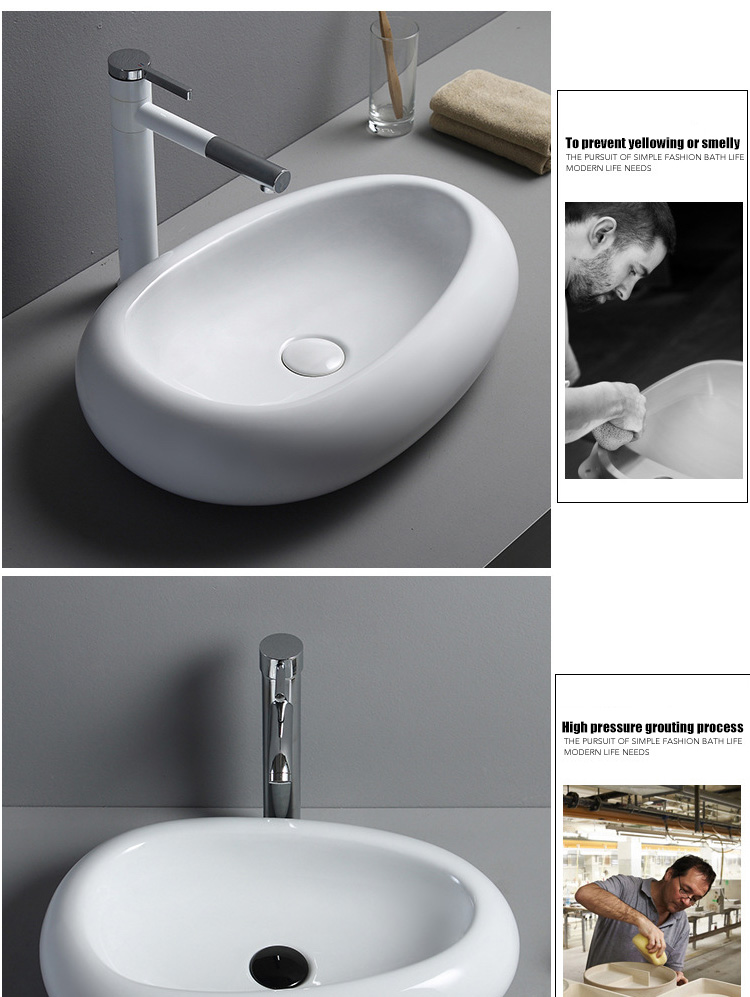 2017 New Model Bathroom Ceramic Above Counter Hand Wash Art Basin