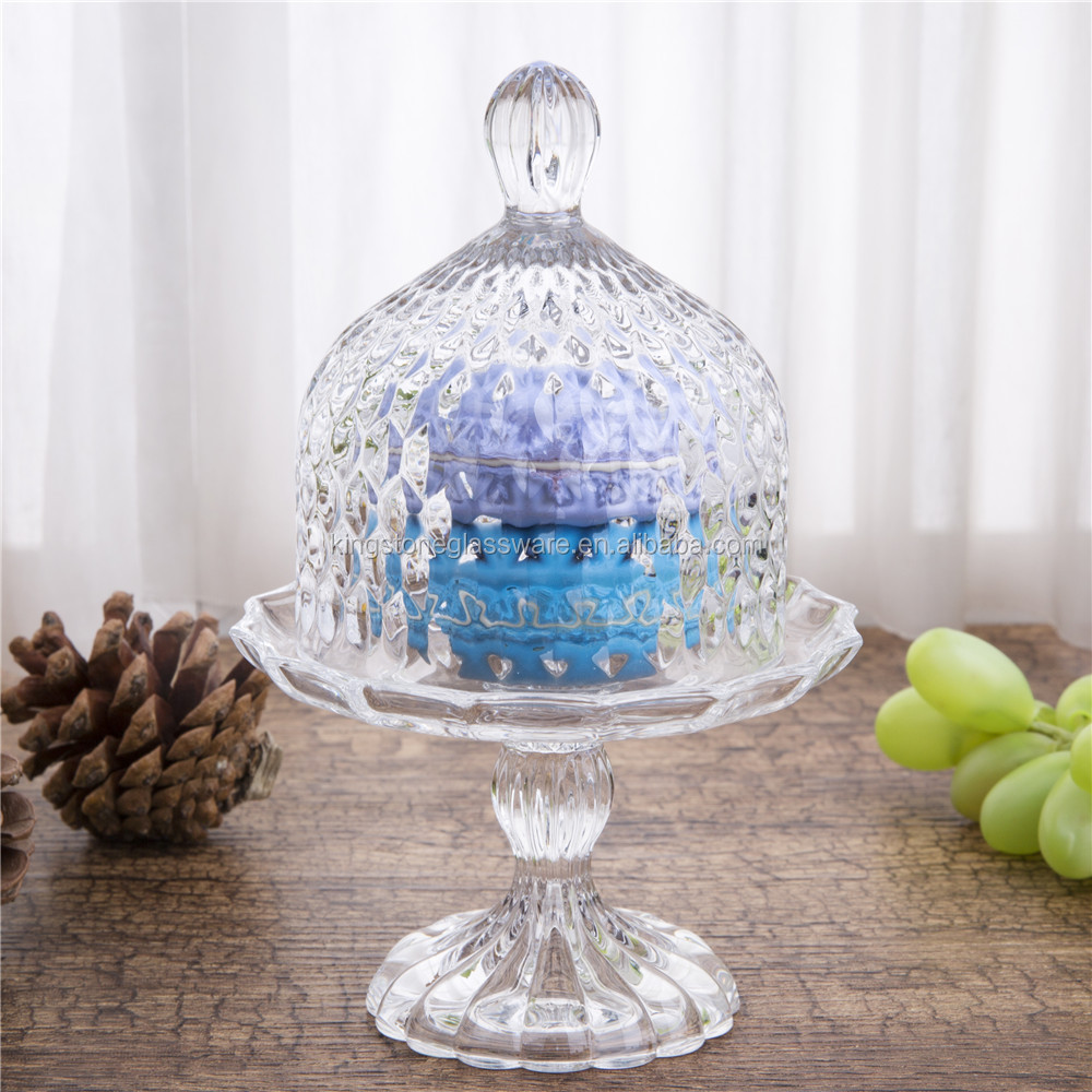 Handmade Clear Birthday Decor Mini Round Glass Plate With Dome