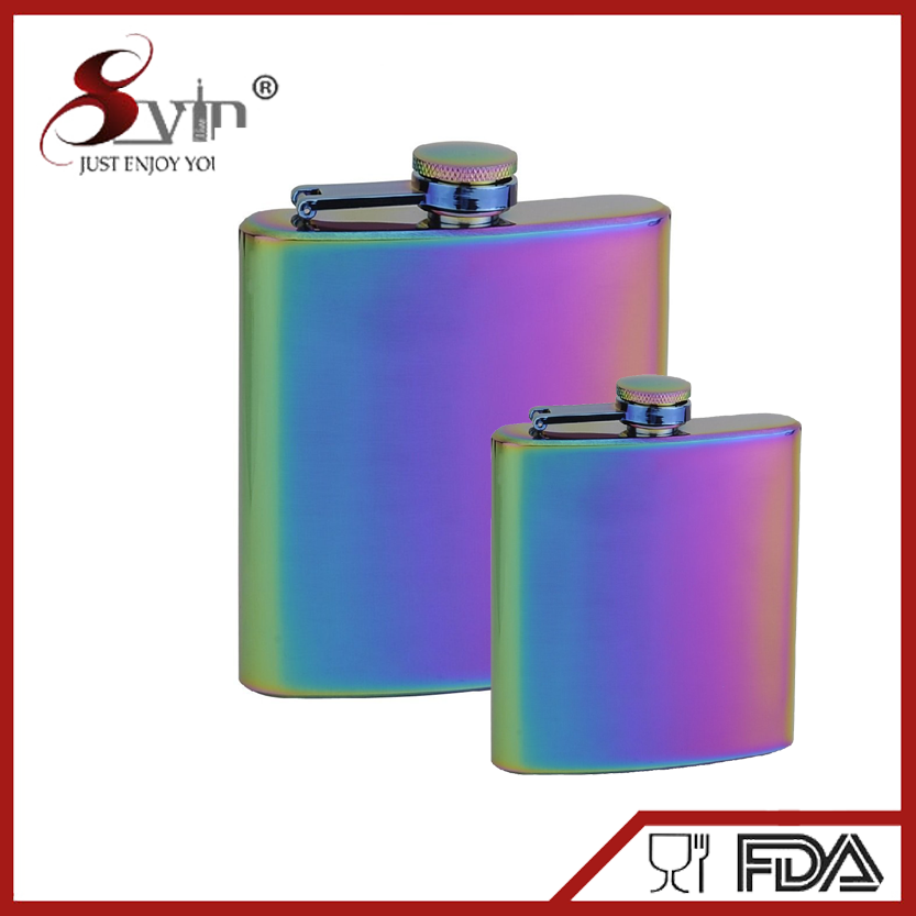2017 Iridescent coloring ss hip Flasks