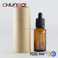 Wholesale Custom Gift Paper Tube Box 30ml Amber Matte Eliquid Ecig Round Glass Dropper Bottles With Childproof Cap