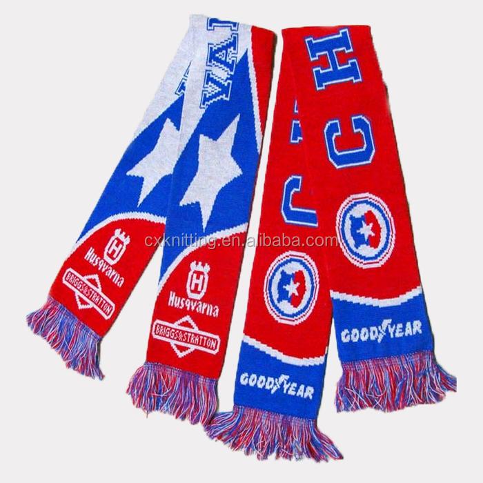 Acrylic Yarn Custom Design Knitting Football Scarves Manufacturers ...