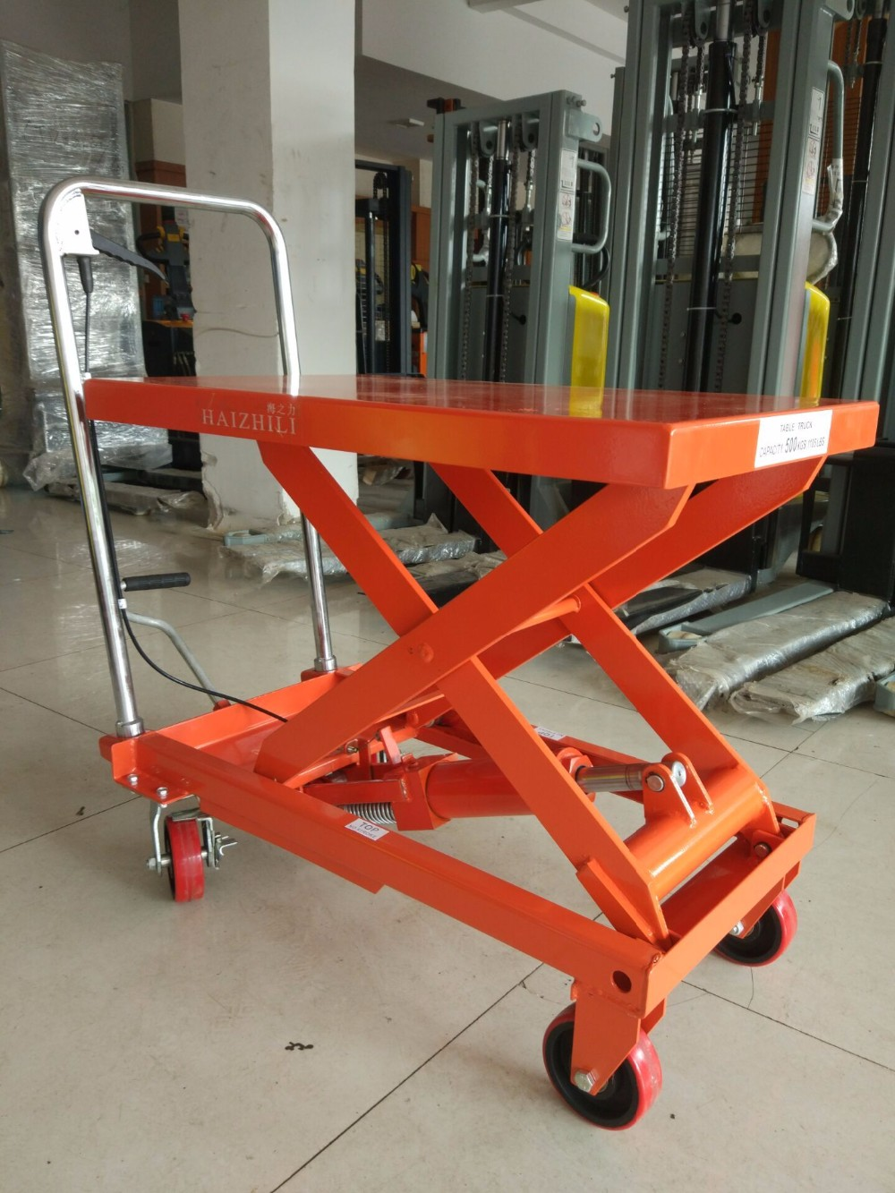Foot Operated Scissor Lift Table Mobile Portable Folding
