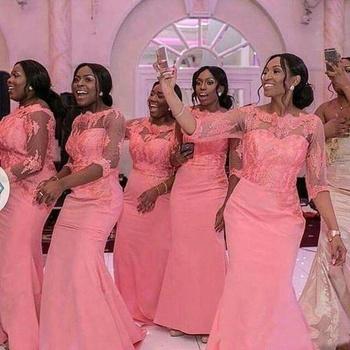 c157bcd7886 2018 Gorgeous Blush Pink Mermaid African Bridesmaid Dress Nigeria Wedding  Guest Gown