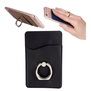 PU Leather Cell Phone Wallet/Pocket/Card Holder with Ring Stand for Mobile Devices, Adhesive Sticker Back