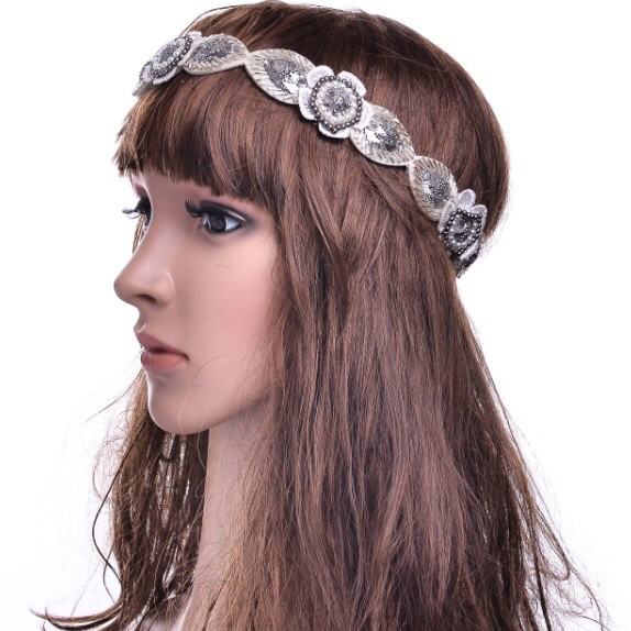 Wholesale Headwear Hair Accessories Wide Crystal Stretch Rhinestone Beaded Headband