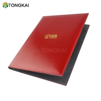 Custom high school /university used A4 size red cover pu leather certificate/diploma holder folder