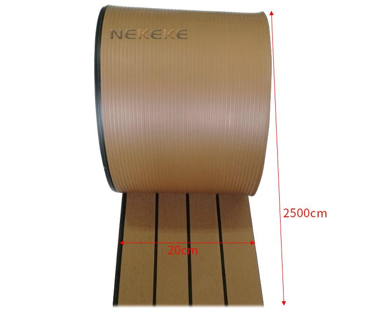 25 Meter Roll 200mm Wide Synthetic Teak Decking With Black Caulking Line Stripe
