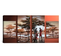 Modern handpainted wall art african woman landscape oil painting for home decor