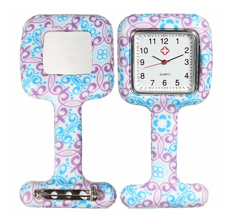 Square shape silicone nurse rubber pocket FOB watches doctor hanging medical clip watch