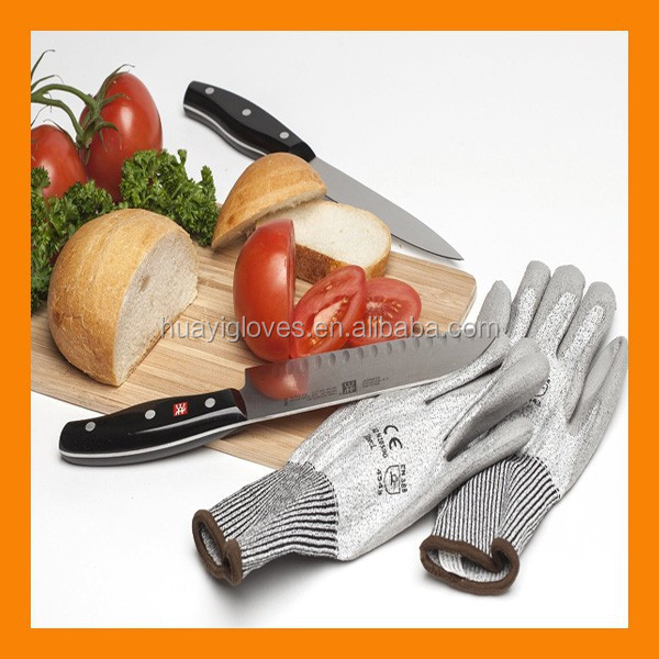 Anti Cut PU Coated CE Level 5 Cut Resistant Protective Cutting Gloves