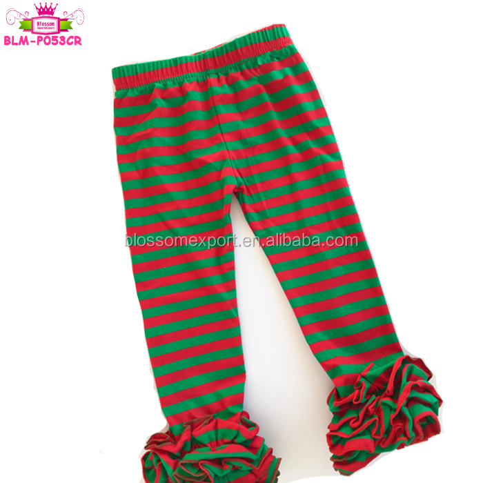 Christmas Kids Triple Ruffle Leggings Pants Toddler Girl Red Striped Icing Pants Leggings With Green Ruffles