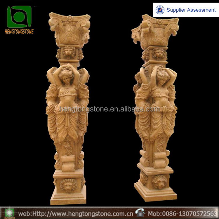 Luxry yellow marbe roman pillar with four lady statues