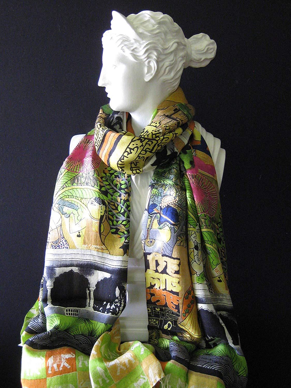Tolani OM Mantra w/Elephants Orange Multi Colored Print Scarf 100% Pure Silk