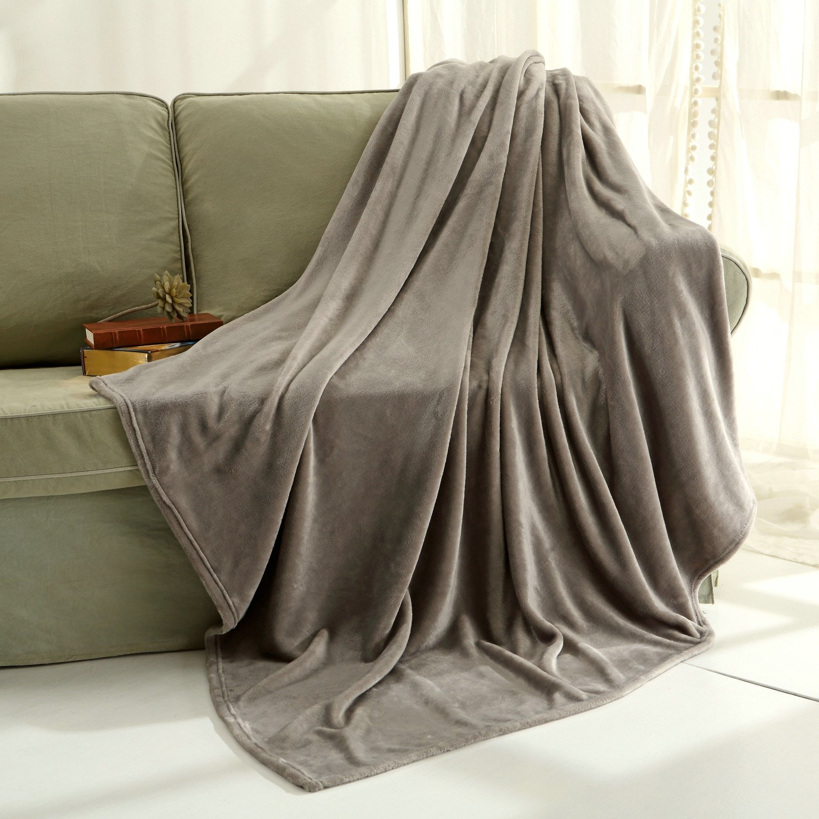Get Quotations · Flannel Throw Blanket Luxury Grey Size 50x60 Inches  Lightweight Plush Microfiber Fleece All Season Super Soft c82661fd8